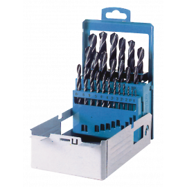 Jobber drill metal box 25 pieces rolled forged