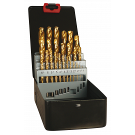 Jobber drill metal box 25 pieces TIN coated